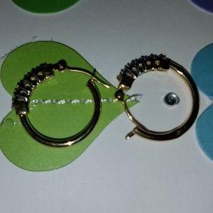 14k gold small diamond hoops
